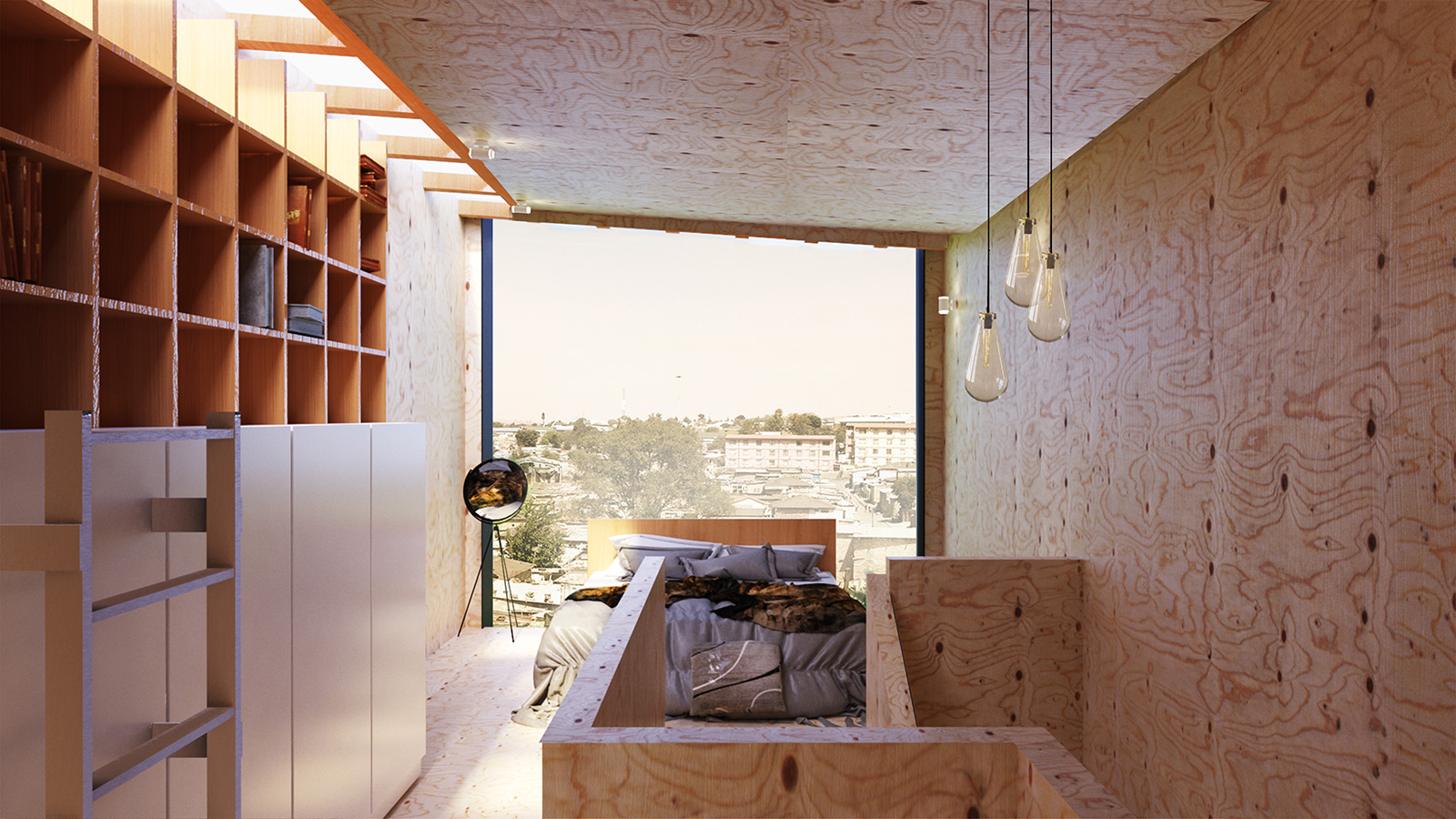 Sustainable-architecture-fire-house-second-floor-bedroom